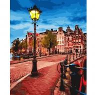 Картина по номерам BrushMe 40*50см Желтый фонарь на вечерней улице (GX23889)