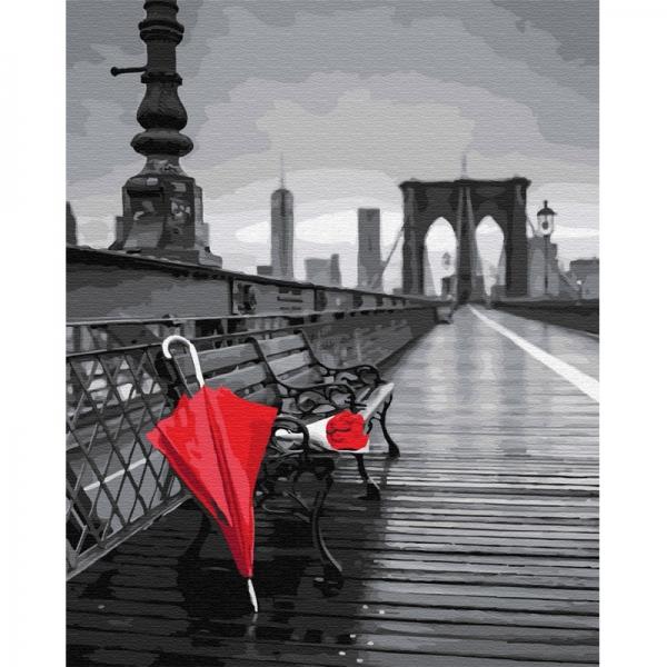 Картина по номерам BrushMe 40*50см Красный зонт на мосту (GX30656)