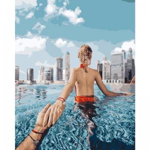 Картина по номерам BrushMe 40*50см Следуй за мной. Басейн в Дубае (GX24911)