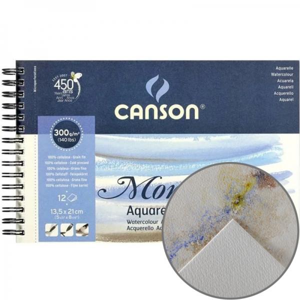 Альбом для акварели на спирали Canson Montval (12) 300 г/м2 13,5х21 см