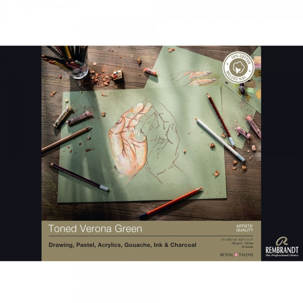 Склейка для пастели Rembrandt A4 180г/м2 50 л. Toned Verona Green (93080022)