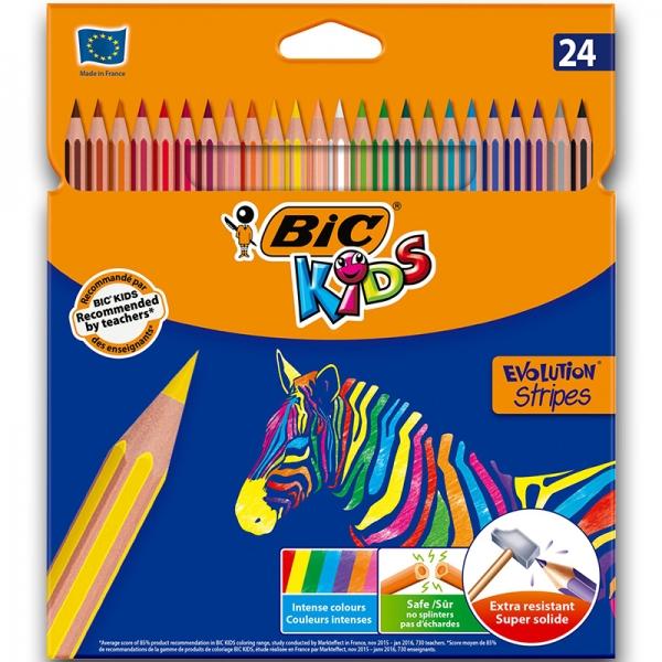 "Карандаши цветные ""BIC"" 24 цвета Evolution Stripes"