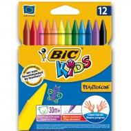 Карандаши цветные восковые BIC Plastidecor 12 цветов