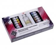 Подарочный набор акриловых красок МАСТЕР КЛАСС 12 цветов 18 мл тубы в пластике + 2 кисти + лак