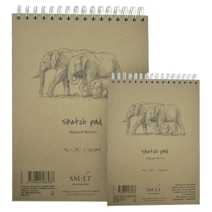 Альбом для эскизов на спирали Smiltainis Authentic А4, А5 135г/м2 80 листов Крафтовая бумага