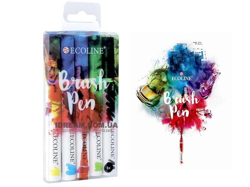 Набор маркеров Ecoline Brushpen с жидкой акварелью Royal Talens, 5 шт