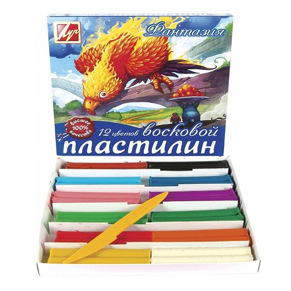 """Пластилин восковой Луч """"Фантазия"""" 12 цветов, со стеком"""