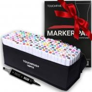 Набор маркеров двусторонних TouchFive 168 цветов + подарок (touchPad & brushMarker)