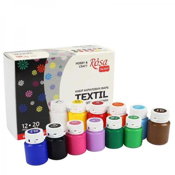 Набор красок для ткани 12цв 20мл ROSA