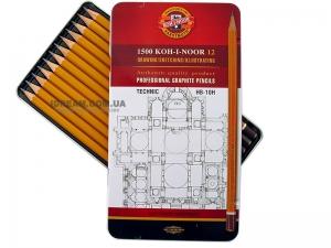 Набор графитных карандашей 1500 Technic 12шт, HB-10H