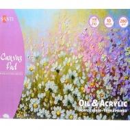 Холст хлопковый в альбоме для эскизов Santi масл и акрил. красками, 280 г/м2, А5, 10 л.742551
