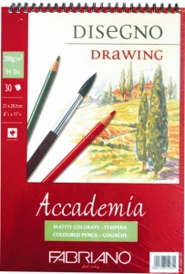 Альбом на спирали Accademia А4 (21*29,7см) 200г/м2, 30л, мелкое зерно, Fabriano