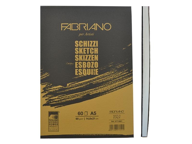 Склейка для эскизов Schizzi Sketch А5 (14,8х21см), 90г/м2, 60л., Fabriano