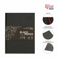 Блокнот A5 черная бумага (14,8*21см), 80г/м ROSA, 96л.