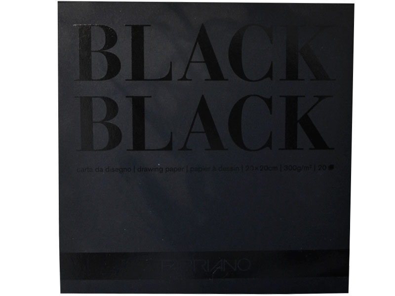 Склейка-блок Black (20*20 см), 300г/м2, 20л, черная, Fabriano