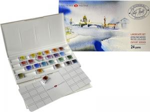 """Набор акварельных красок Белые Ночи """"Пейзаж"""", пластик, 24 цвета"""