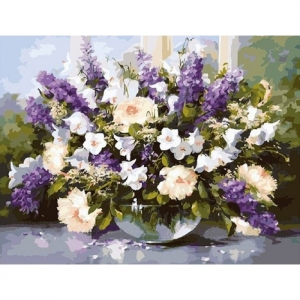 Картина по номерам Идейка 40х50см Большой букет в стеклянной вазе 2 (КНО1050)
