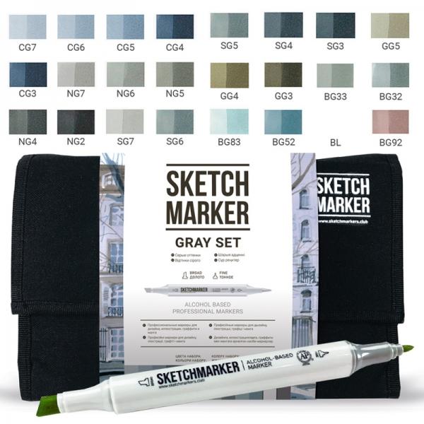 Набор маркеров SKETCHMARKER Cерые тона 24 цвета