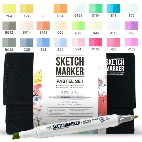 Набор маркеров SKETCHMARKER Пастельные тона 24 цвета