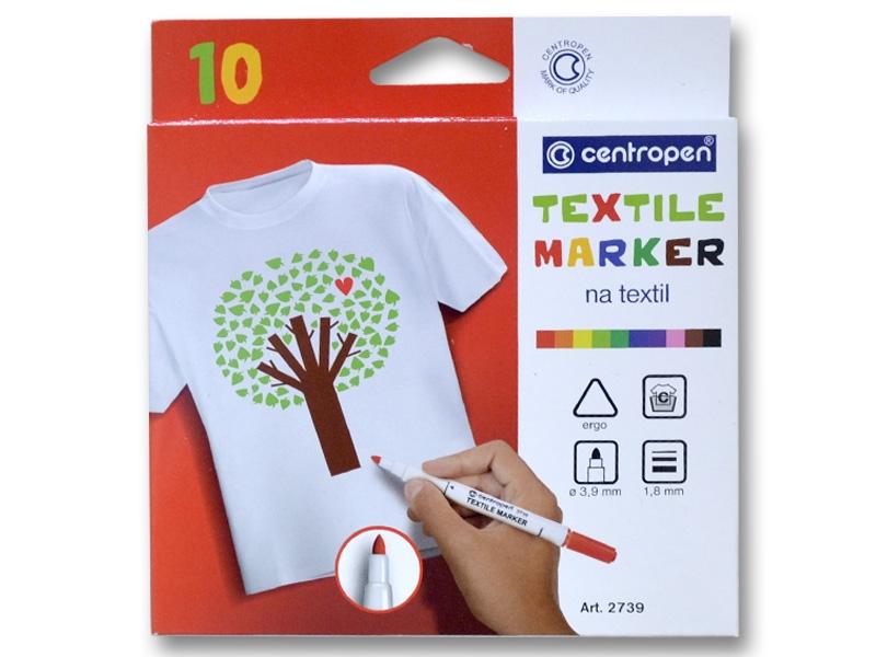 Набор маркеров по ткани CENTROPEN 2739 Textil, 10 цветов