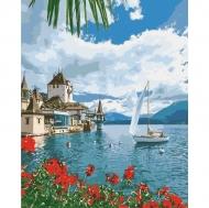 Картина по номерам Идейка 40х50см Морской пейзаж Утро в Швейцарии (КНО2734)