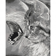 Картина по номерам Идейка 40х50см Котенок и бабочка (КНО2499)