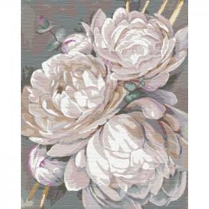 Картина по номерам Идейка 40х50см Белый пион с золотой краской (КНО3115)