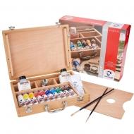 Набор акриловых красок Van Gogh BASIC 10х40мл + кисти + доп.материалы. Дер.коробка (22840513)