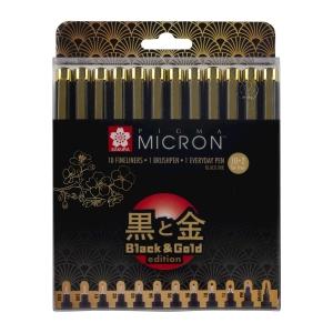 Набор лайнеров Sakura PIGMA Micron Black & Gold Черный 12 шт. (003-12 brush PN) (POXSDKB12YOS)