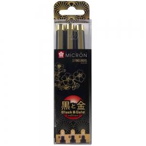 Набор лайнеров Sakura PIGMA Micron Black & Gold Черный 3 шт. (01-03-05) (POXSDKB3YOS)