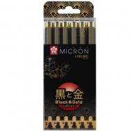 Набор лайнеров Sakura PIGMA Micron Black & Gold Черный 6 шт. (005-08) (POXSDKB6YOS)