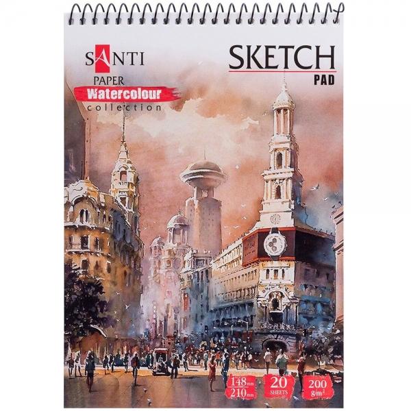 Альбом для акварели SANTI Travelling А5 Paper Watercolour Collection 20 л. 200 г (742832)