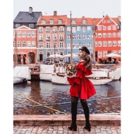 Картина по номерам BrushMe 40*50см Она у домов Амстердама (PGX25436)