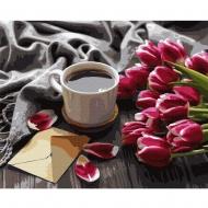 Картина по номерам BrushMe 40*50см Тюльпаны к кофе (GX36492)