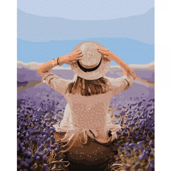 Картина по номерам BrushMe 40*50см Путешественница в лавандовом поле (GX37568)