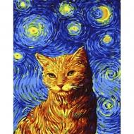 Картина по номерам BrushMe 40*50см Кот в звездную ночь (GX35619)