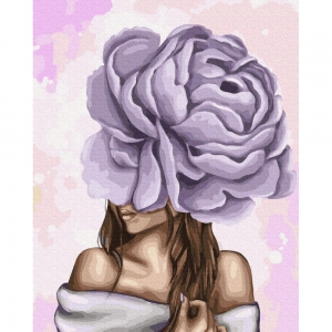 Картина по номерам BrushMe 40*50см Дама с фиолетовым пионом (GX37546)