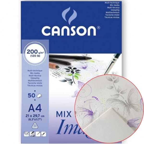 Блок бумаги для акварели Mix Media Imagine (50) 200 г/м2 21х29,7 см