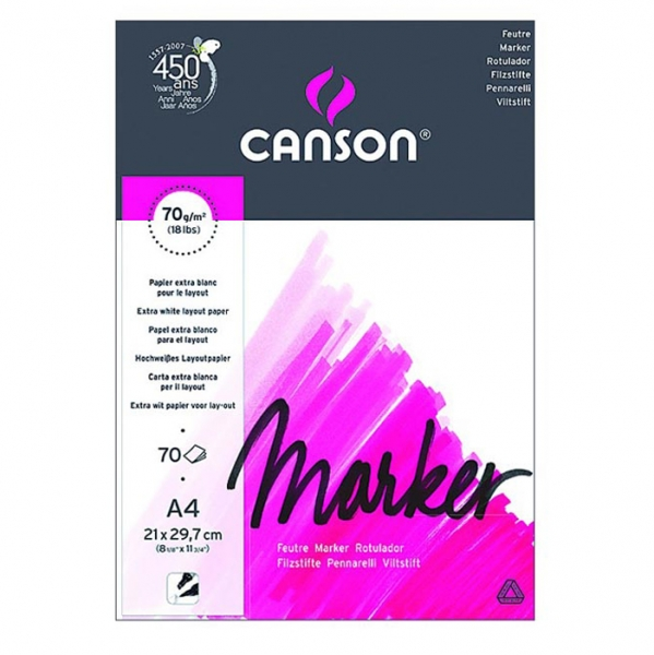 Альбом для маркеров экстра гладкая бумага Canson Marker 70 гр, 21х29,7 см, A4, 70 л. (0297-231)