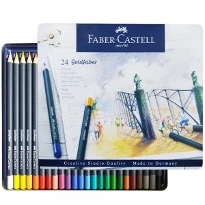 Карандаши цветные Faber-castell Goldfaber 24 цвета в металлической коробке