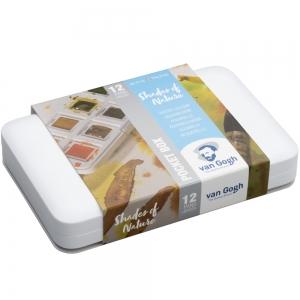 Набор акварельных красок Van Gogh Pocket box SHADES OF NAT 12 кюв + кисточка в пластике (20808641)