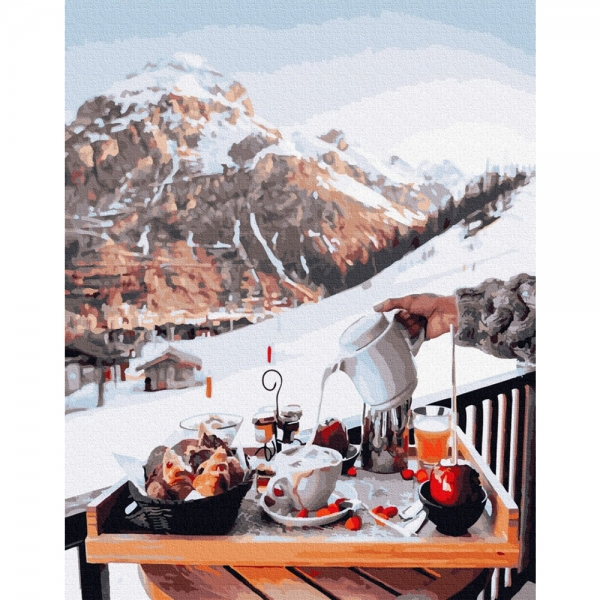 Картина по номерам BrushMe 40*50см Завтрак у швейцарских гор (PGX26239)