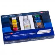 Подарочный набор красок акриловых Ладога 12 цветов 18 мл + лак и кисти