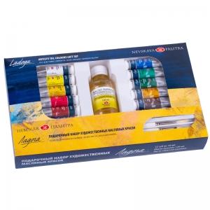 Подарочный набор масляных красок Ладога 12х18 мл + масло льняное и кисти