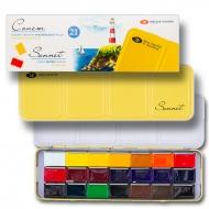 Набор акварельных красок Сонет 21 цвет 2,5 мл кюветы в металлическом пенале