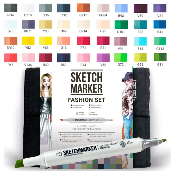 Набор маркеров SKETCHMARKER Fashion design 36 цветов