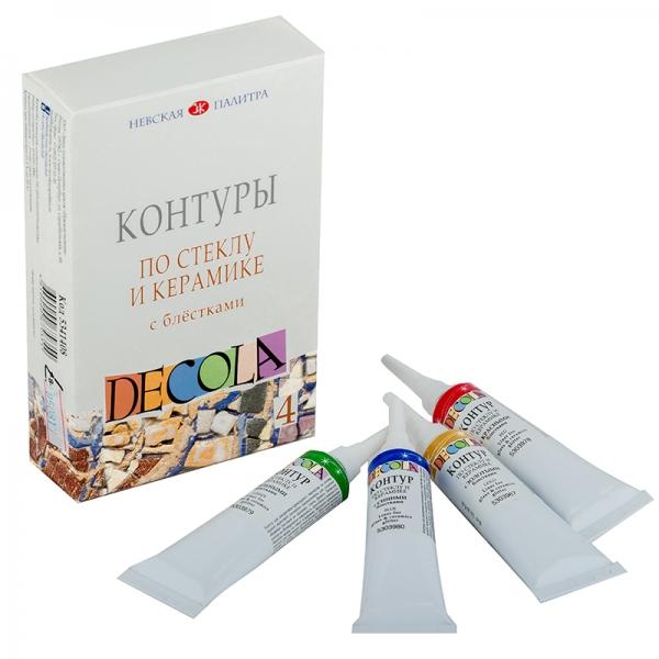 Набор контуров DECOLA стекло, керамика блест. 4цв.,18мл ЗХК (350908)