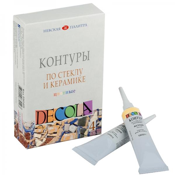 Набор контуров DECOLA стекло, керамика цветн. 4цв.,18мл ЗХК (350907)