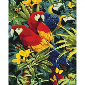 """Картина по номерам Идейка 40х50см  """"Разноцветные папугайчики"""""""