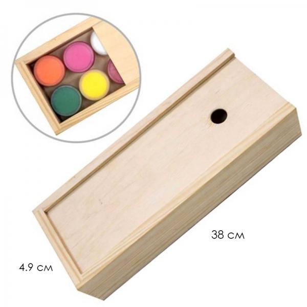 Пенал для гуаши деревянный 24,3*9,5*5,3 см ROSA